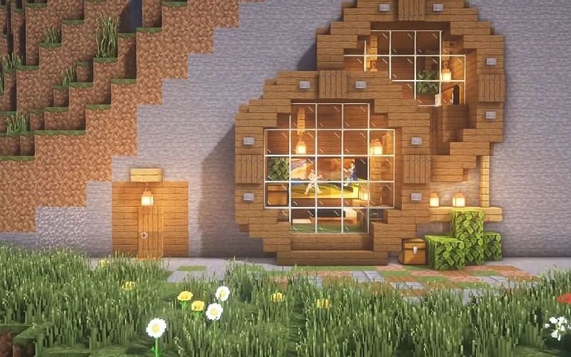 An image of a player's base in-game (Image via Minecraft)