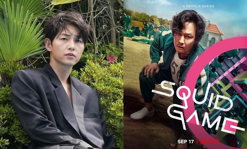Song Joong Ki and Squid Game Character Poster for Lee Jung Jae (Images via Instagram/@hi_songjoongki and @theswoonnetflix)