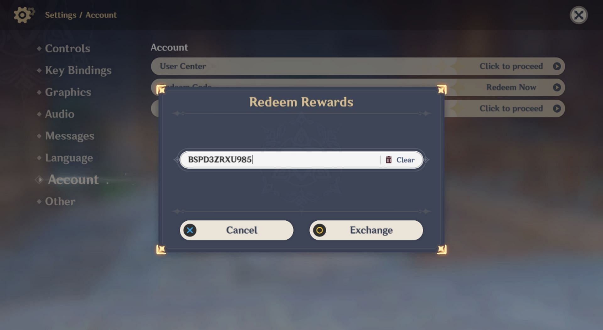 Entering the new redeem code in-game (Image via Genshin Impact)