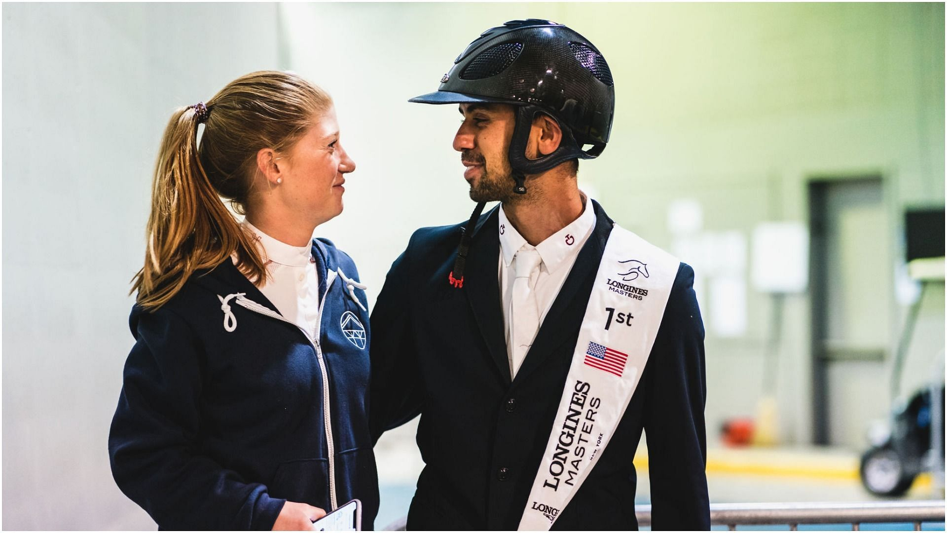 Nayel Nassar and girlfriend Jennifer Gates after the Longines Grand Prix de New York at the Longines Masters New York 2019 at NYBC Live in Uniondale, New York (Image via Getty Images)