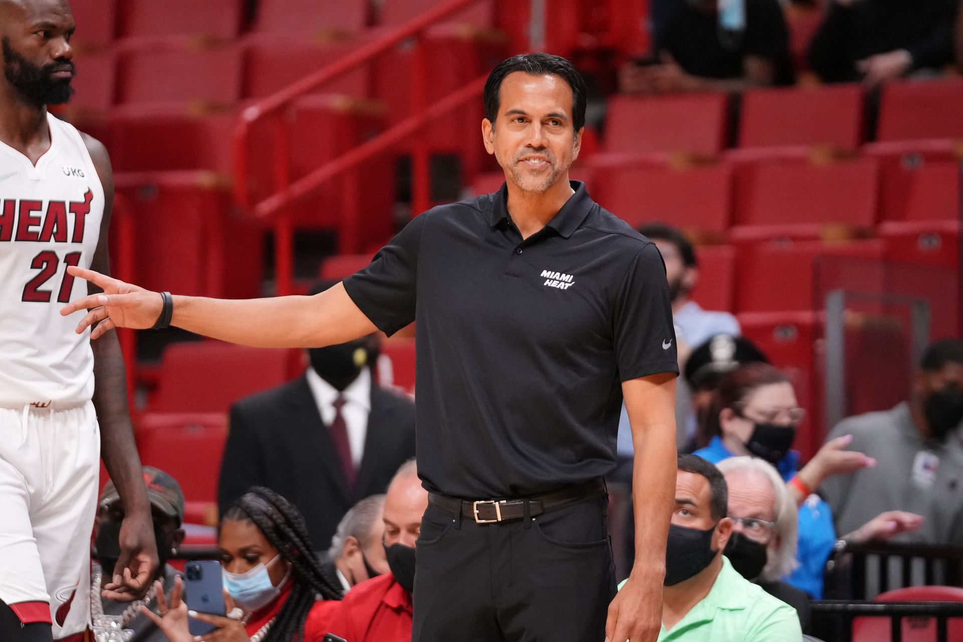 Head Coach Erik Spoelstra of the Miami Heat coaching against the Charlotte Hornets during the preseason game at FTX Arena on October 11, 2021 in Miami, Florida.