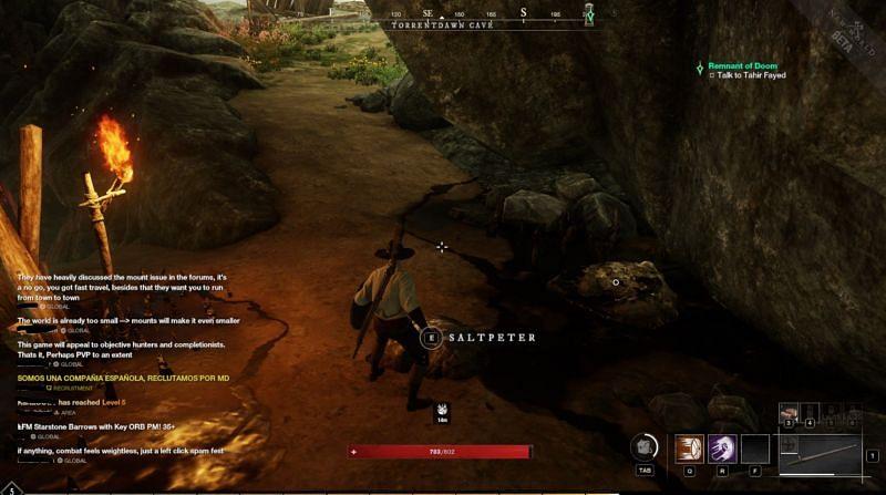 Pemain mengumpulkan garam batu.  (Gambar melalui Amazon Games)