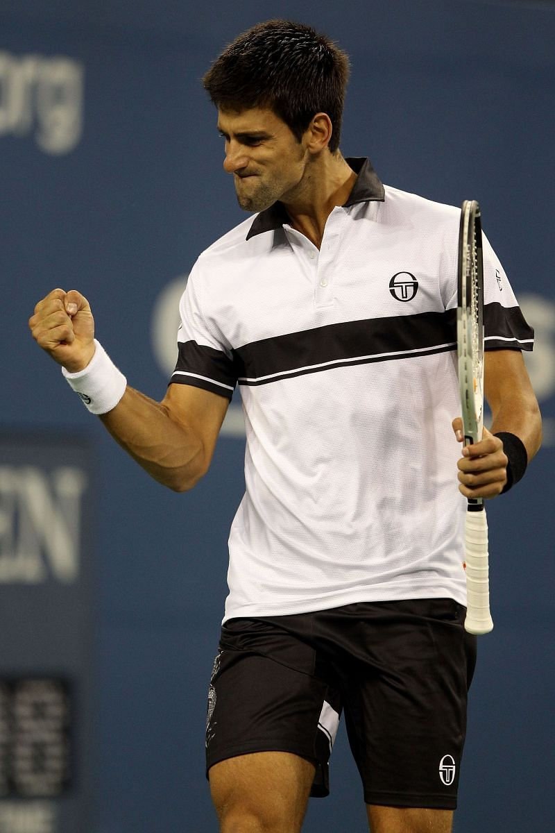Novak Djokovic in action against Rafael Nadal in the 2010 US Open finals