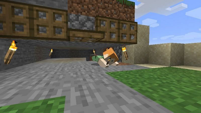 Crawling has very limited uses, but it is very helpful when needed. (Image via Mojang)