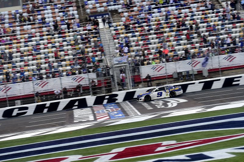 Chase Elliott crosses the finish line to win the NASCAR Cup Series Bank of America Roval 400 at Charlotte Motor Speedway on October 11, 2020 in Concord, North Carolina. (Photo by Jared C. Tilton/Getty Images)