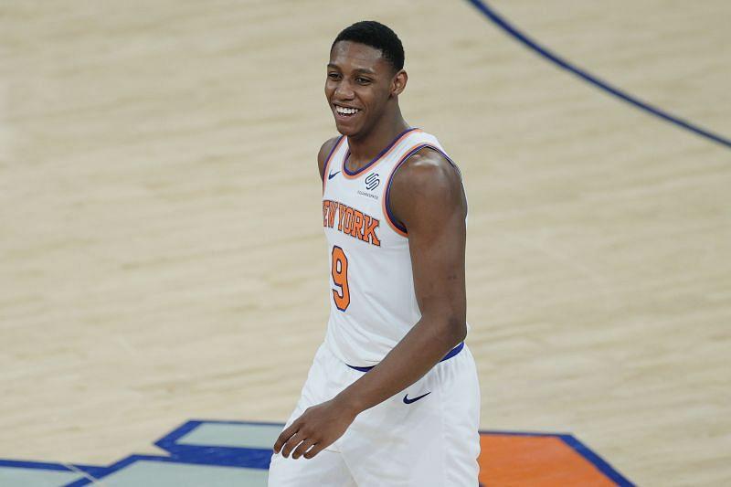 RJ Barrett (#9) of the New York Knicks