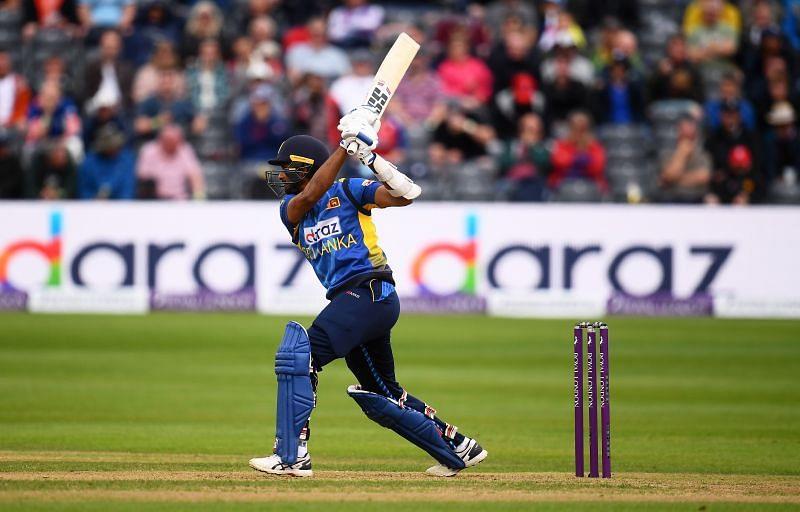 Dasun Shanaka plays a shot through the off-side.