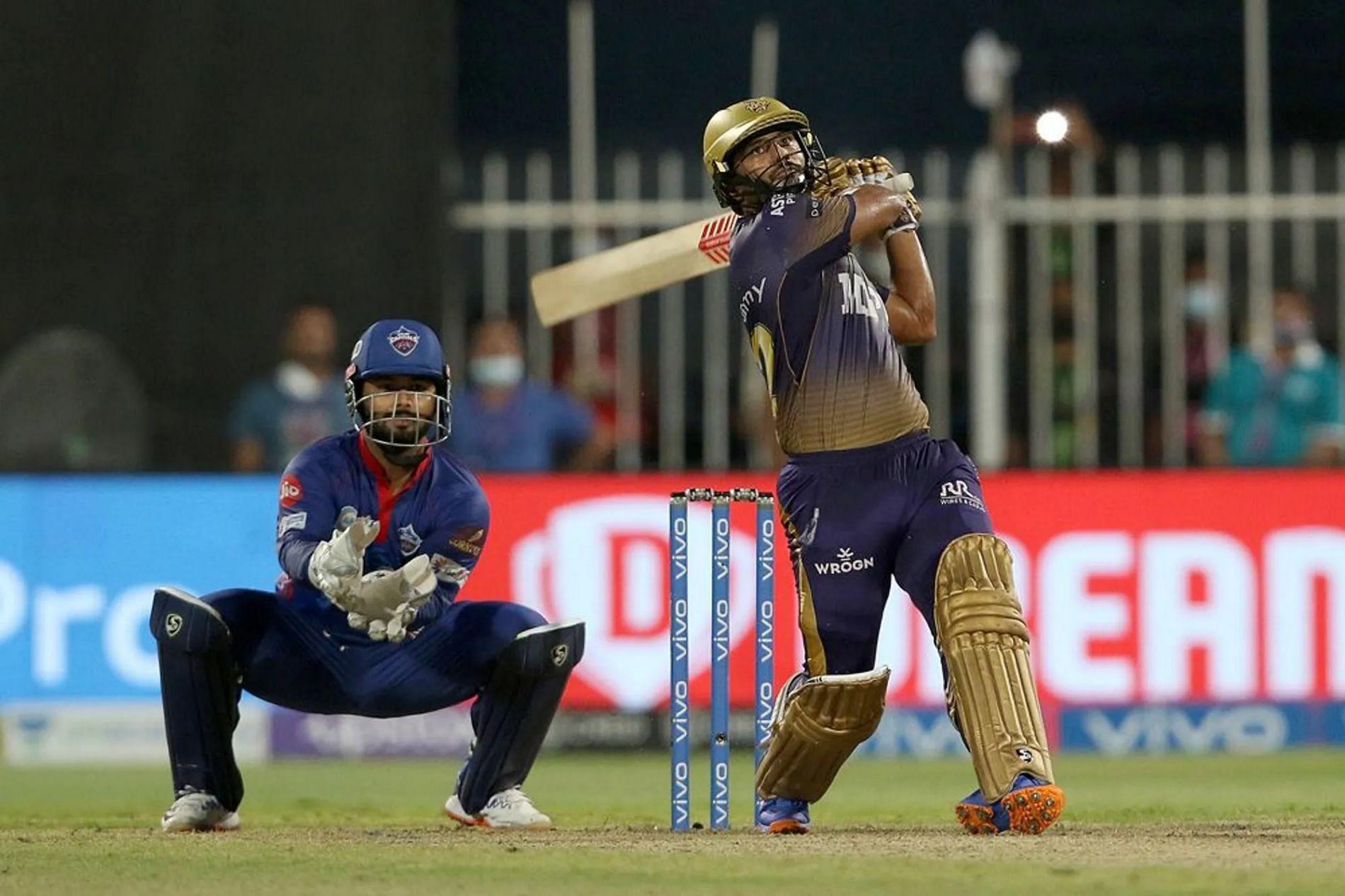 Rahul Tripathi's last-over six put KKR in the IPL 2021 final. Pic: IPLT20.COM