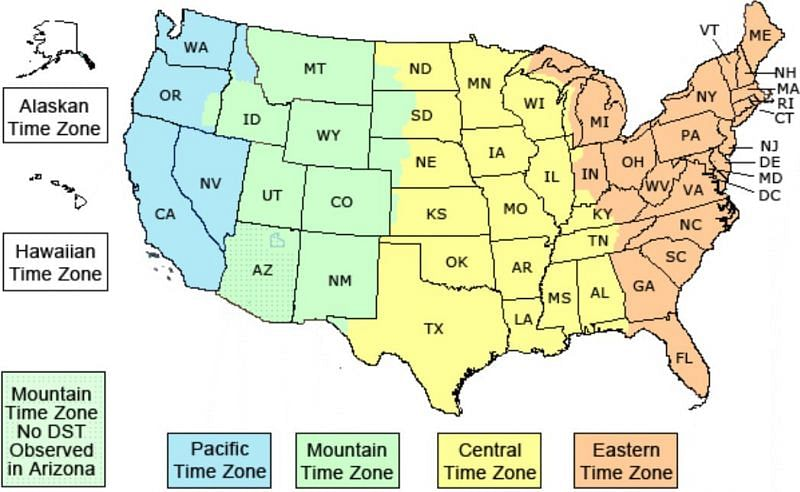 A map of various American timezones (Image via Time Temperature)