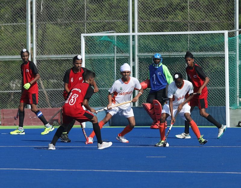 Action during the Hockey India Sub-Junior Academy National Championship in Bhopal.