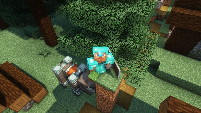 Players are safe if the ravager can not reach them (Image via Minecraft)