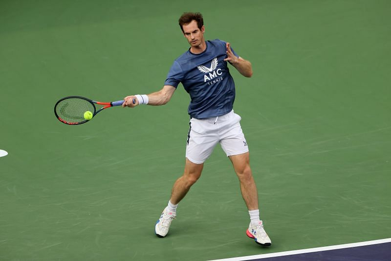 Andy Murray practicing at the BNP Paribas Open