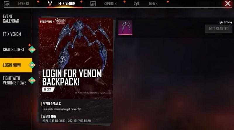Venom Backpack (Image via Free Fire)