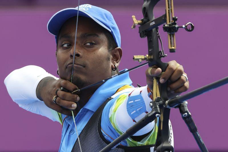 India's Atanu Das in action at the Tokyo Olympics.