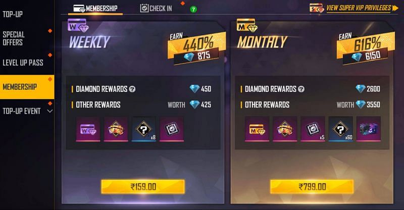 The weekly membership needs INR 159 and monthly membership need INR 799 (Image via Free Fire)