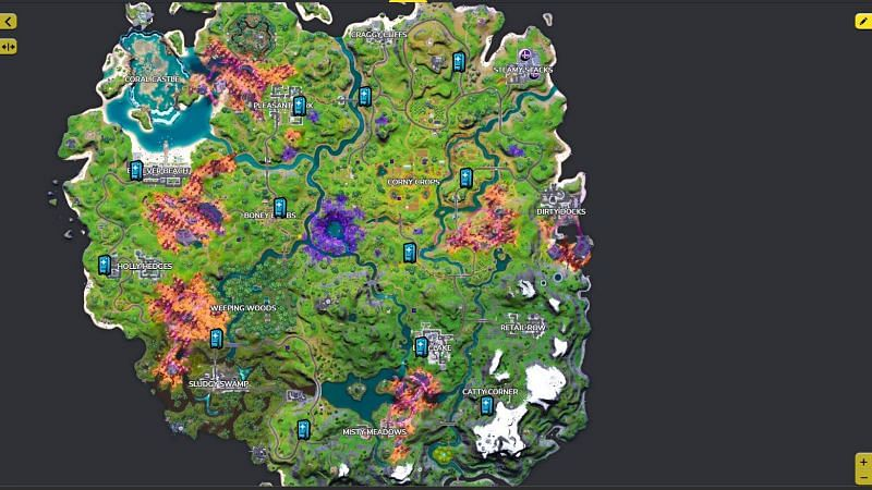 Vending Machines are located all across the Fortnite map near named locations and gas stations (Image via Fortnite.gg)