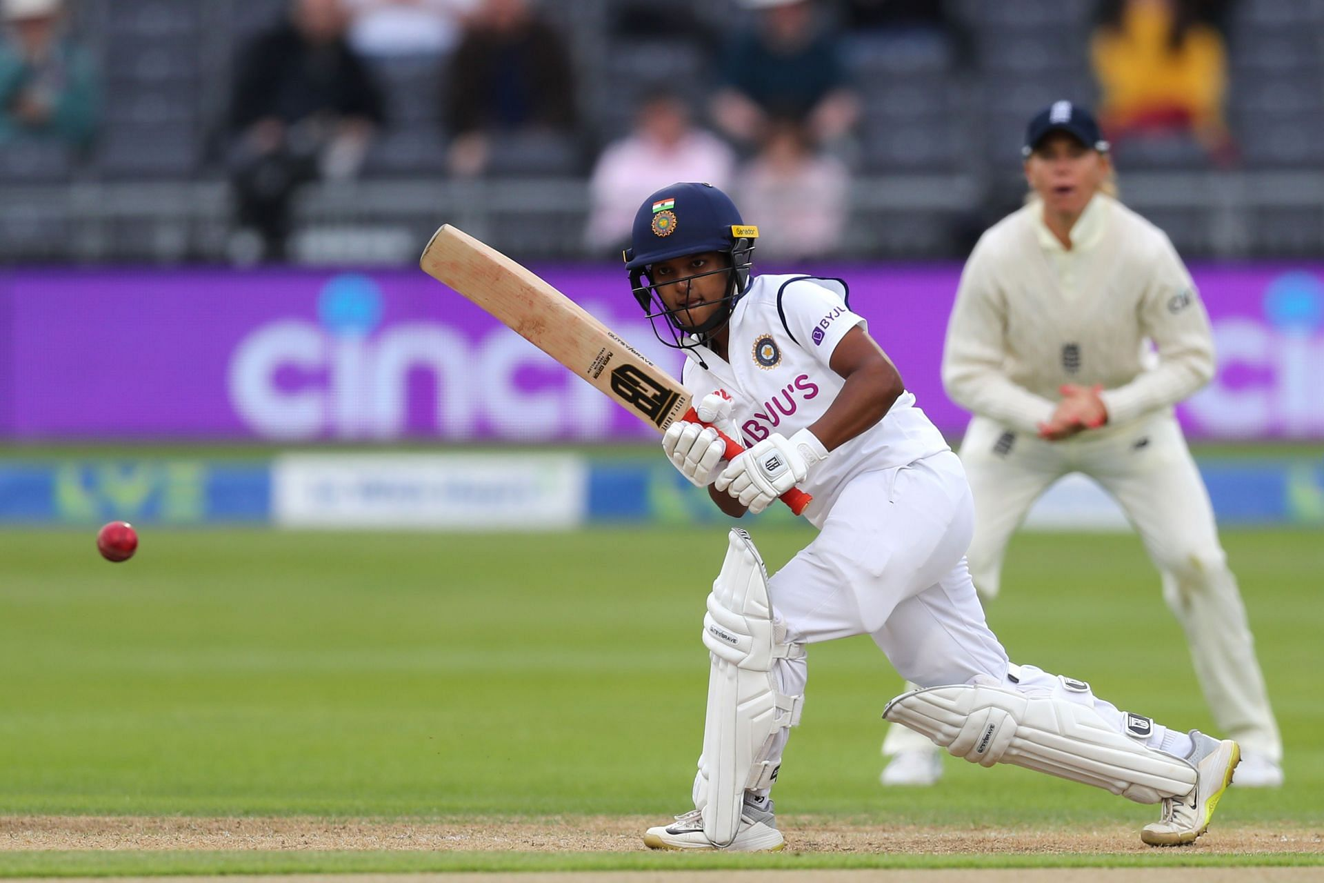 Indian batter Punam Raut in action against England.