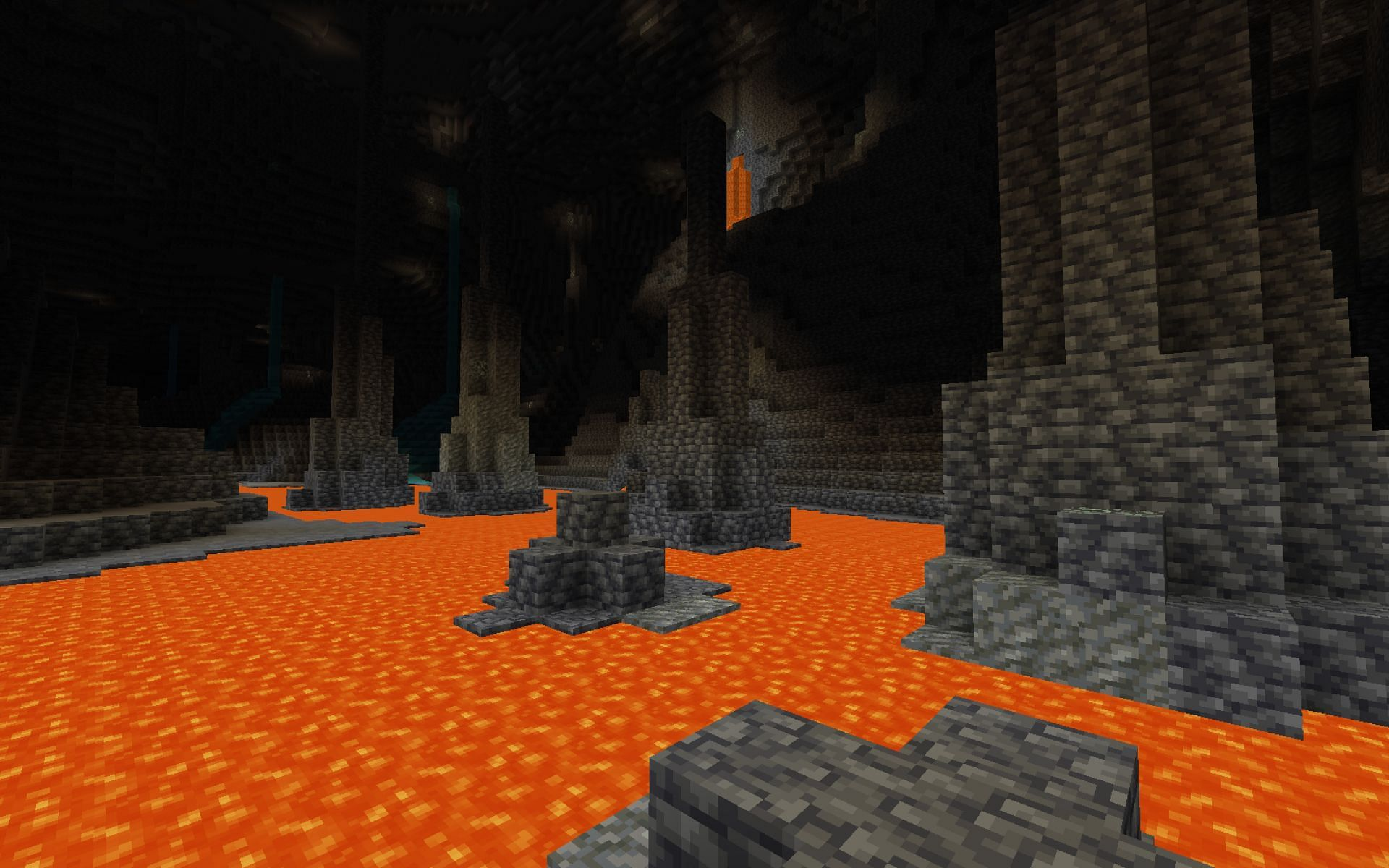Players should avoid touching lava in-game (Image via Minecraft)
