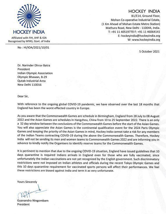 हॉकी इंडिया द्वारा IOA को लिखा गया पत्र।