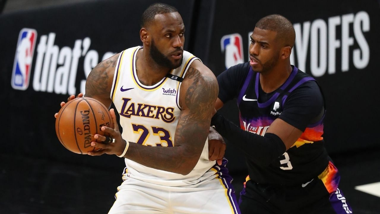 Chris Paul of the Phoenix Suns against LeBron James of the LA Lakers in the 2021 NBA playoffs