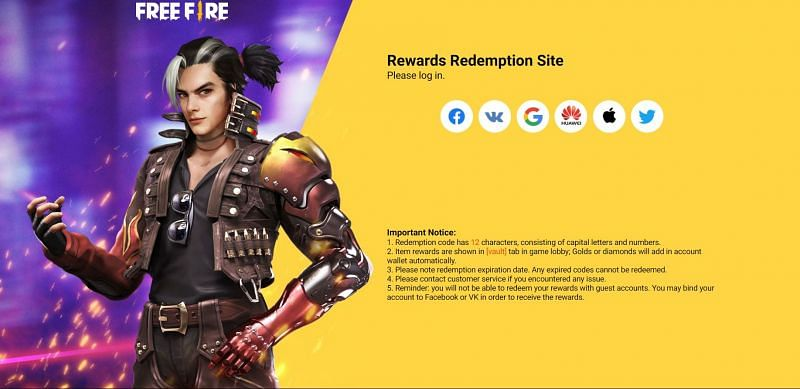 There are numerous options for signing in to obtain rewards (Image via Free Fire)