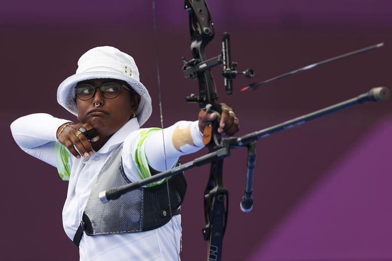 Indian archer Deepika Kumari in action.