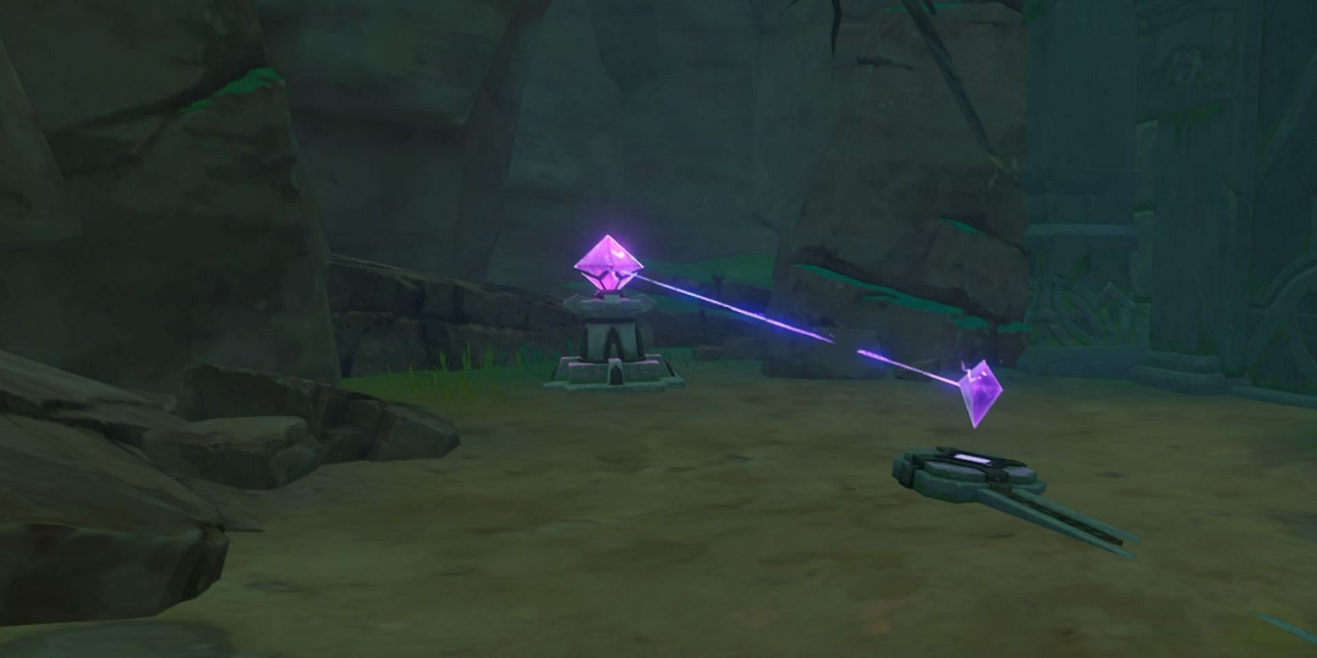 A beam connecting the Discharged Stone and the Crystal (Image via Genshin Impact)
