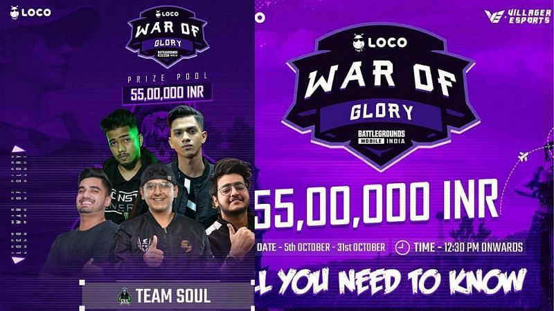 BGMI War of Glory boasts a massive prize pool of ₹55 lakhs (image via Villager Esports)