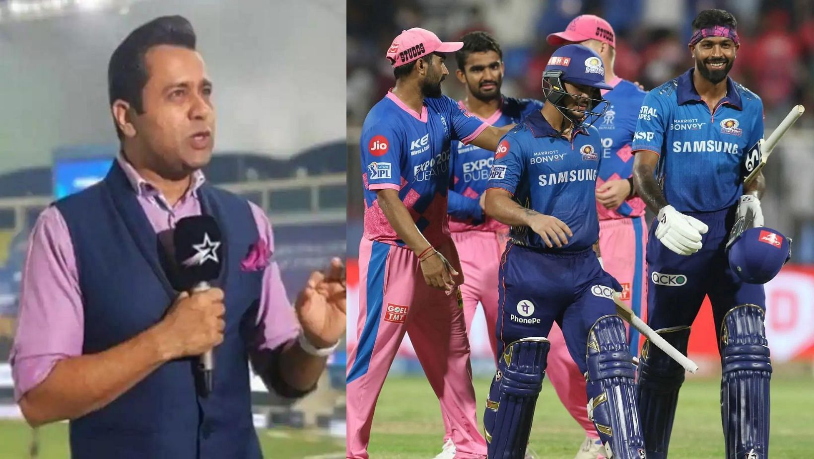 Aakash Chopra (L) and Mumbai Indians' players after their massive win over Rajasthan Royals.