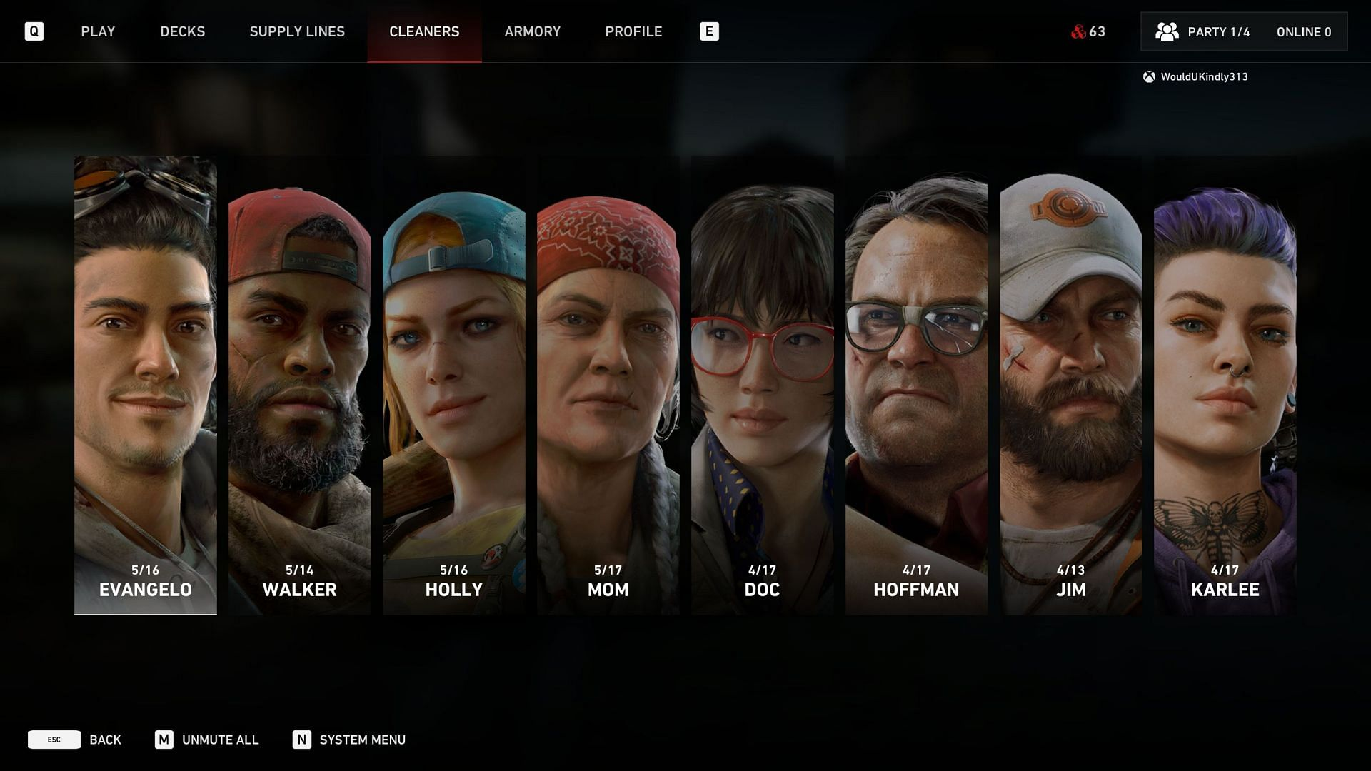 The Cleaner selection screen (Image via Turtle Rock Studios)