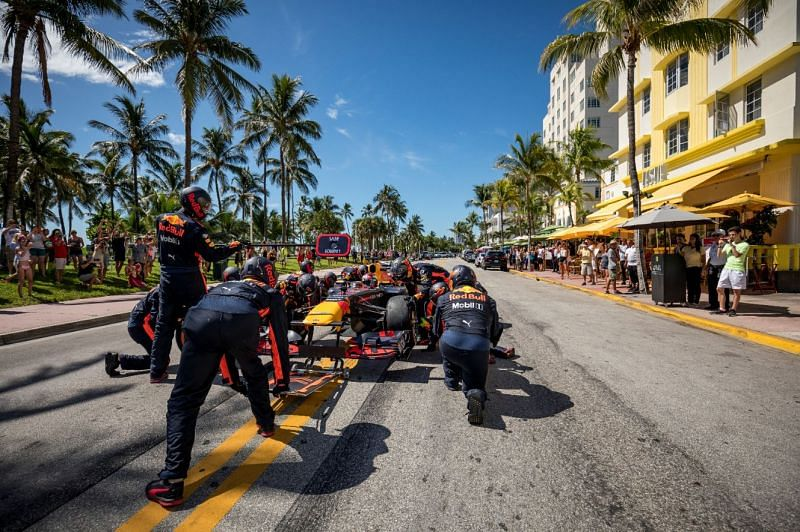Red Bull Racing at the 2022 Miami Grand Prix venue (Pitures by REd Bull Content Pool)