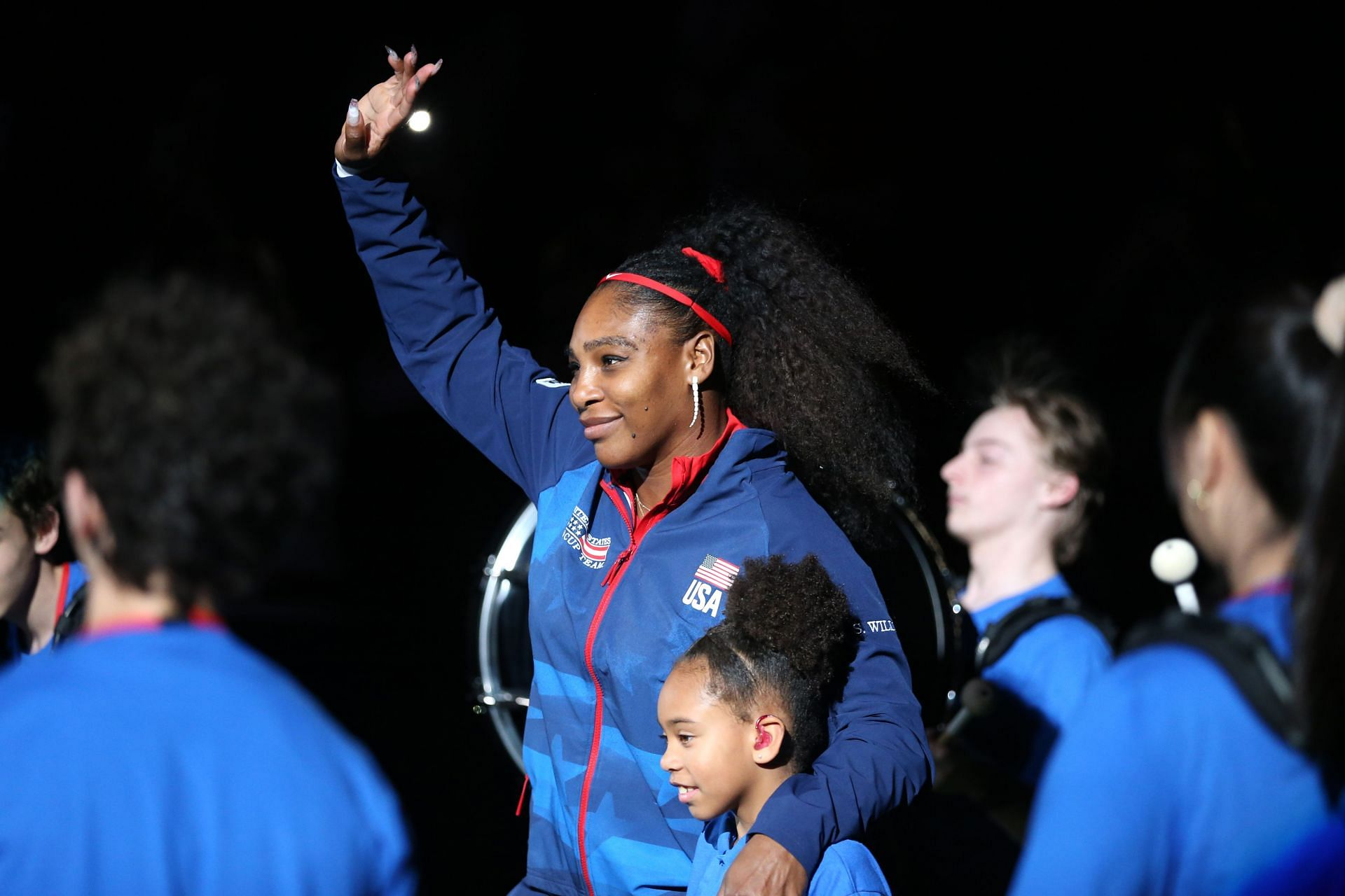 Serena Williams at the 2020 Billie Jean King Cup tie against Latvia.