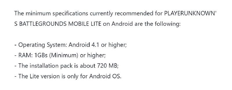 Requirements of PUBG Mobile Lite stated on Tencent Helpshift (Image via Tencent)