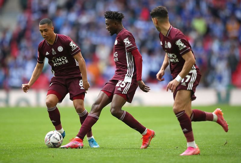 Youri Tielemans (Left), Wilfred Ndidi (Center) and Ayoze Perez (Right)