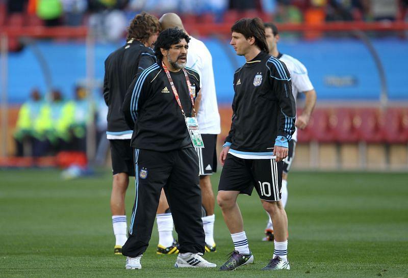 Diego Maradona and PSG star Lionel Messi