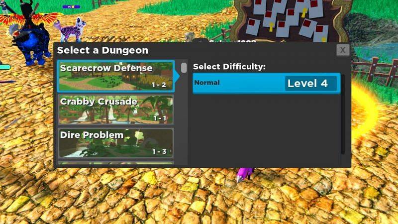 Dungeons and towers give experience in a short time (Image via Roblox)