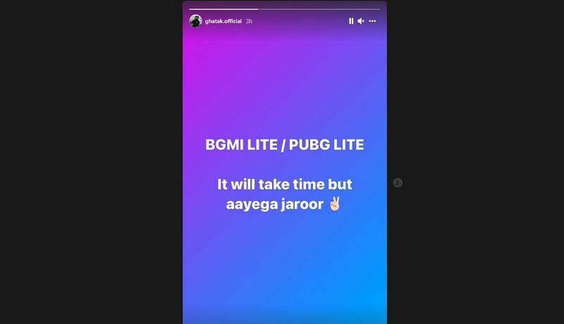 Ghatak's story on his Instagram handle about the lighter version of BGMI (Image via Instagram)