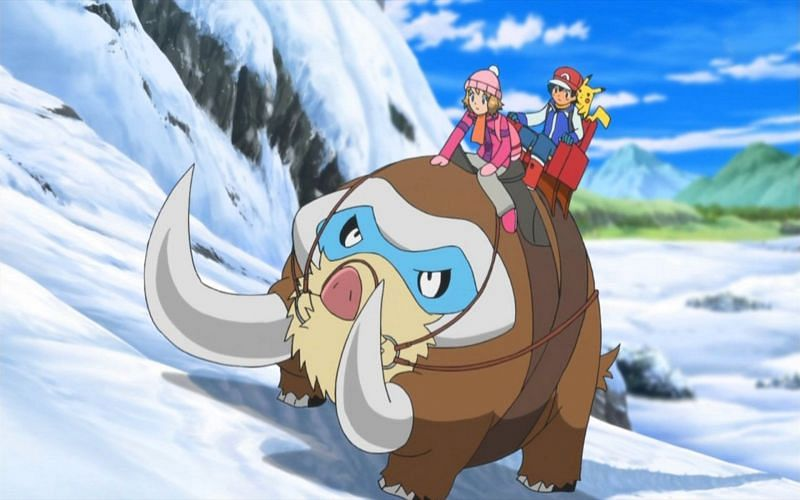 Mamoswine's rookie evolution, Swinub, can be found in icy areas like the Ice Path in Johto (Image via The Pokemon Company)