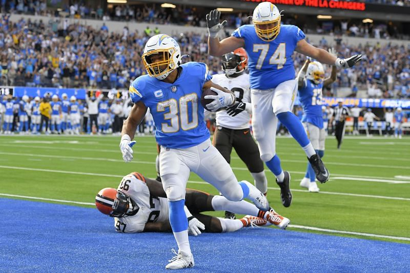 Austin Ekeler had two touchdowns in the Chargers 47-42 win over Cleveland