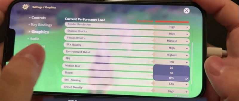 Genshin Impact now supports 120 FPS settings on iOS devices (Image via YouTube/Golden Reviewer)