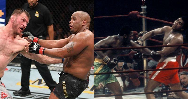 Daniel Cormier vs Stipe Miocic (L) and Muhammad Ali vs Joe Frazier (R) via Twitter @MMAFighting and @MSGNetworks
