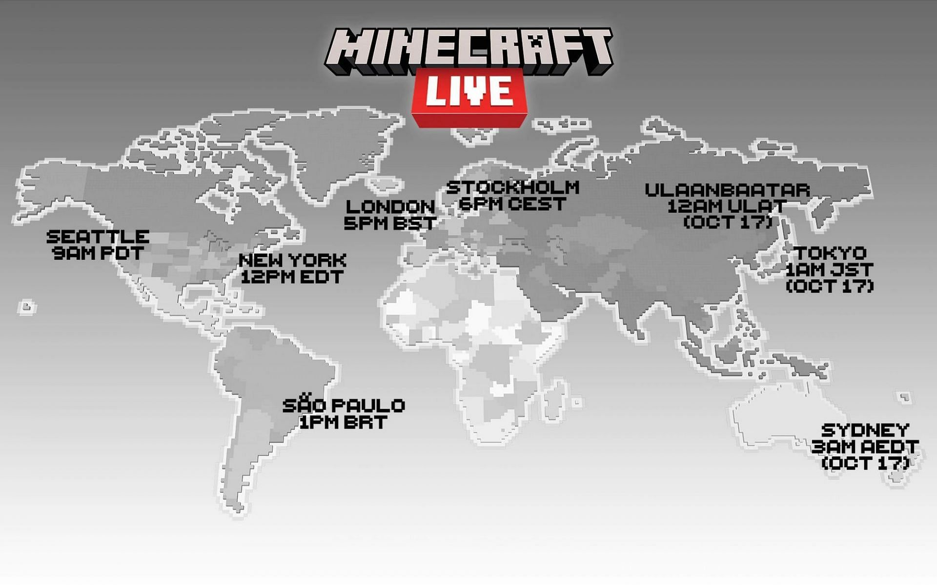 Minecraft Live will start at different times depending on time zone but will be viewable afterward (Image via Mojang)