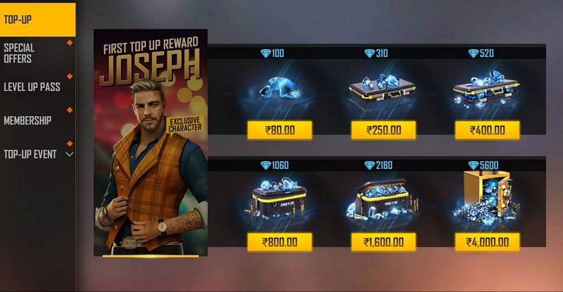 The price of diamonds in case of regular top-up (Image via Free Fire)