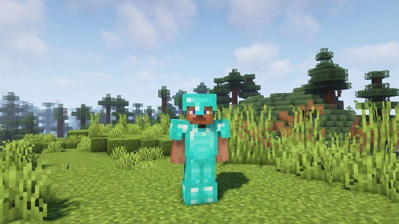 Steve wearing full diamond armor (Image via Minecraft)