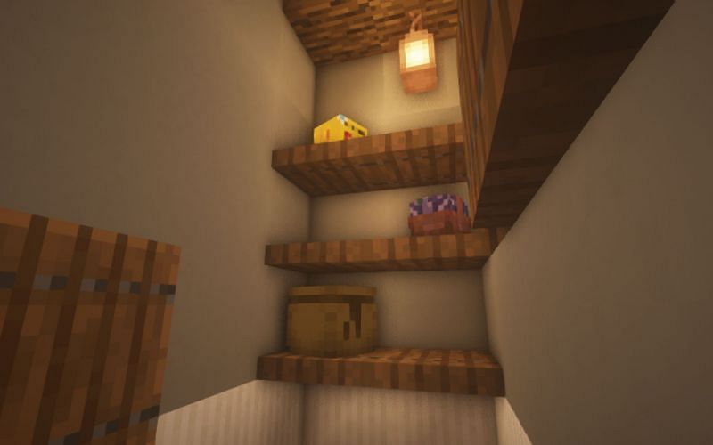 An image of shelves made from trapdoors in-game (Image via Minecraft)
