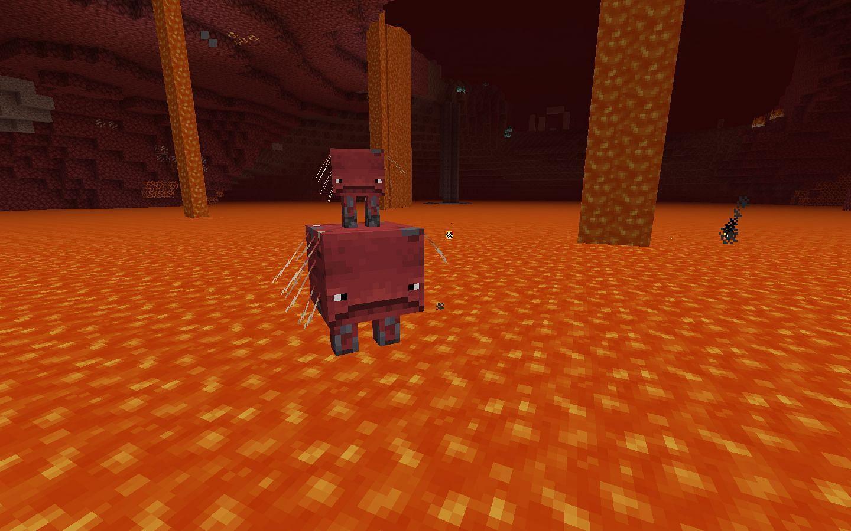 A strider riding a strider (Image via Minecraft)