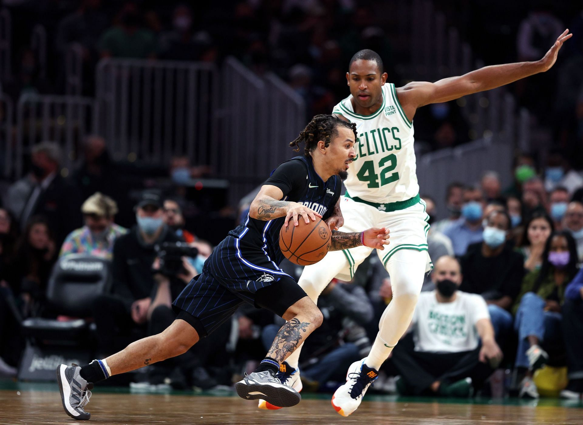 Al Horford of the Boston Celtics (#42) in action against the Orlando Magic