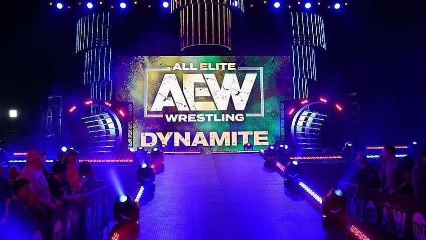 The AEW Dynamite logo displayed for viewers