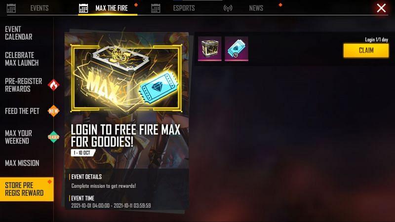 Pre-registration rewards (Image via Free Fire MAX)