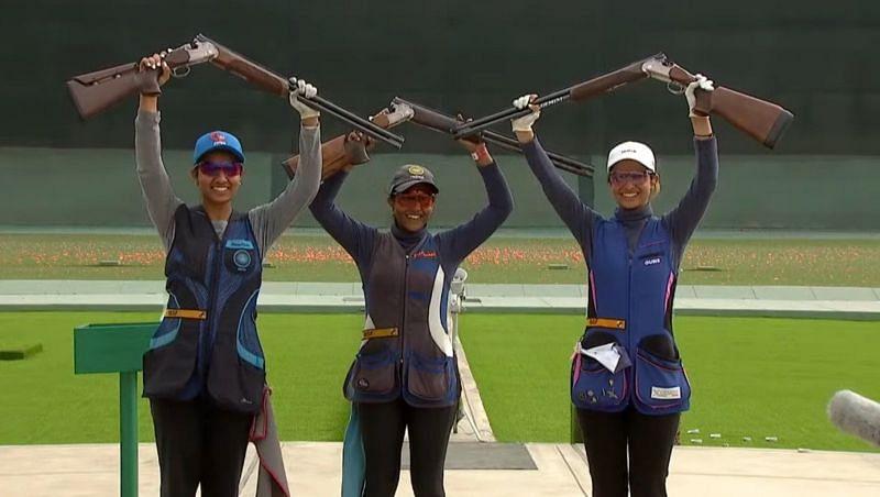 India's women's skeet team wins gold. (©Khelo India/Twitter)